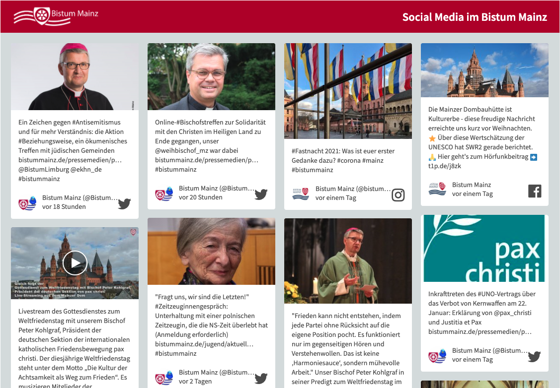 Social Media Wall am 22 Januar 2021 (c) Bistum Mainz