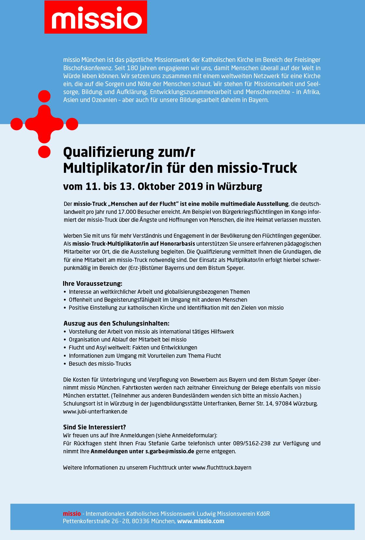 Stellenanzeige Missio Truck Multiplikator Weltkirche